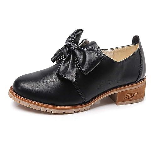Tenthree Zapatos Mujer Mocasines - Chicas Mocasín Pisos Cuero Oxfords Acento irlandés Confortable Oficina Tacon bajo Zapato: Amazon.es: Zapatos y ...