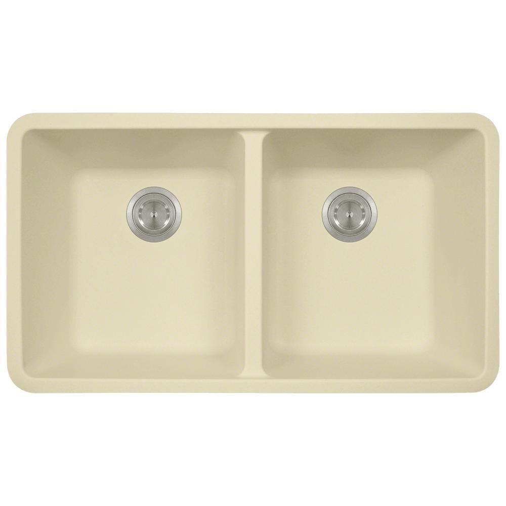 Slate 802 Double Equal Bowl Quartz Kitchen Sink Colored Strainers MR Direct 802-ST-CST