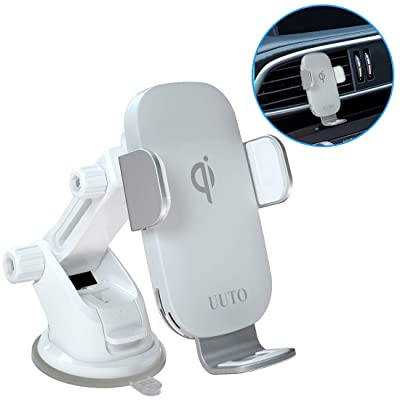White Wireless Car Charger, Qi Fast Wireless Charging Auto-Clamping Car Mount Air Vent Phone Holder Compatible with iPhone11/11Pro/11ProMax/XSMax/XS/XR/X/8/8+, Samsung S10/S9/S8/Note10/Note9, LG V30