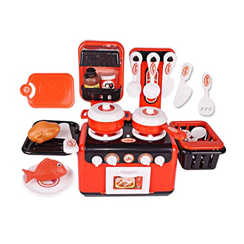 Kitchen Toys Kitchen Playsets Children's Simulation Kitchen Playsets Mini Stove Toys Simulation Cooking Sound Cooking Cookware Environmental ABS Gift Set (Color : Red, Size : 174130cm)