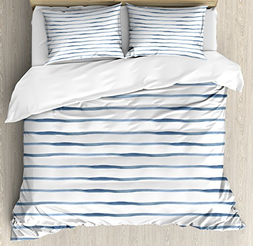 Ambesonne Harbour Stripe Duvet Cover Set, Abstract Brushstroke Nautical Ocean Horizontal Lines Soft Picture, Decorative 3 Piece Bedding Set with 2 Pillow Shams, Queen Size, Night Blue (Duvet Covers Queen Nautical)