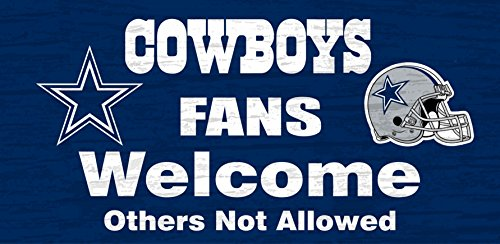 Dallas Cowboys Wood Sign - Fans Welcome 12x6 by Dallas Cowboys