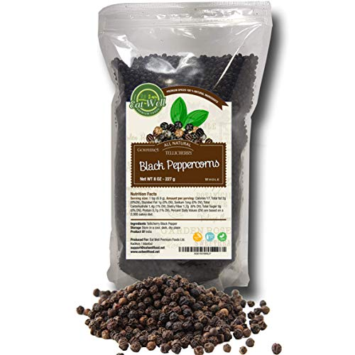 Black Peppercorns Whole   8 oz Reseable Bag , Bulk   Premium Grade , Freshly Packed   Pepper Corn For Grinders Refill  Herbs & Spices   by Eat Well Premium Foods