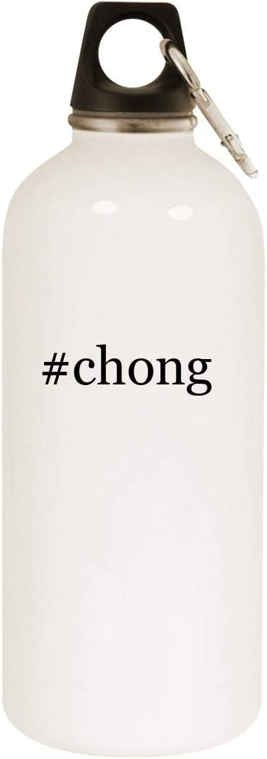 #chong - 20oz Hashtag Stainless Steel White Water Bottle with Carabiner, White