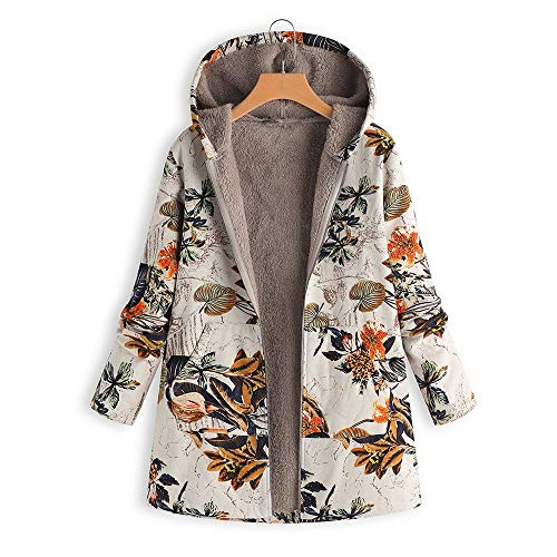 Cappotto Lungo Orange Caldo Donna Stampa Cappuccio Inverno Con Outwear Floreale Stampata Giacca Yuoita Tasche OxqEtt