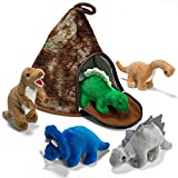 Prextex Dinosaur Volcano House with 5 Plush Dinosaurs Great Christmas Gift For Kids