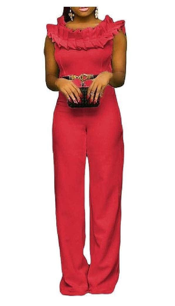 HEFASDM Women Straight Trousers No-Belt Sleeveless Jumpsuits