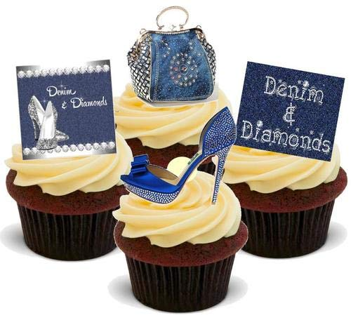 DENIM & DIAMONDS WITH SHOES HANDBAGS PARTY MIX- 12 Edible Stand Up Premium Wafer Cake Toppers ()