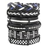 Milakoo 6 Pcs Leather Bracelets for Men Women Wooden Beaded Bracelets Braided Cuff