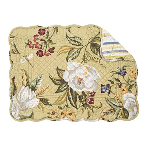 - C&F Home Kassandra Magnolia Floral Flower Place Mats Rectangular Cotton Quilted Reversible Washable Placemat Set of 6 Rectangular Placemat Set of 6 Kassandra