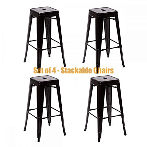 Classic Style Office Dining Room Chair Stackable Backless Solid Metal Seat Indoor Outdoor Set Of 4 Bar Stools - Black - Code Co Ivory Discount And