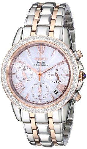 Watch Chronograph Steel Stainless Diamond (Seiko Women's SSC880 Two-Tone Diamond Solar Chronograph Watch in Stainless Steel)