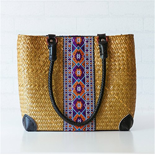 Old As02huang Retro Of Tissue Women Version As02kafei Thai Woven Woven Package Bag Rattan Seaweed Grass BUCwPqx