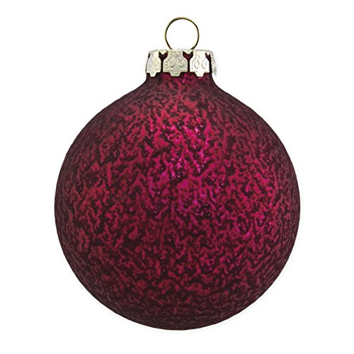 Christmas Ornaments, Christmas Balls, Glass, Handmade, Burgundy Structure Collection,18 pc Set, 6x8cm (3.15