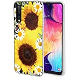 Galaxy A50 Case, Galaxy A50 Phone Case with Flowers, Ueokeird Slim Shockproof Clear Floral Pattern Soft Flexible TPU Back Phone Cover for Samsung Galaxy A50 2019 6.4' (Sunflower)