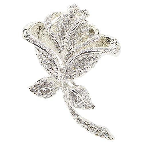 Rose Flower Crystal Jewelry Brooches Rhinestone Wedding Bouquet Brooch Pin for Women (Crystal Flower Bouquet Jewelry)