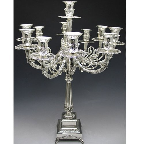 Christmas Tablescape Decor - Silver Plated 11 Branch Candelabra