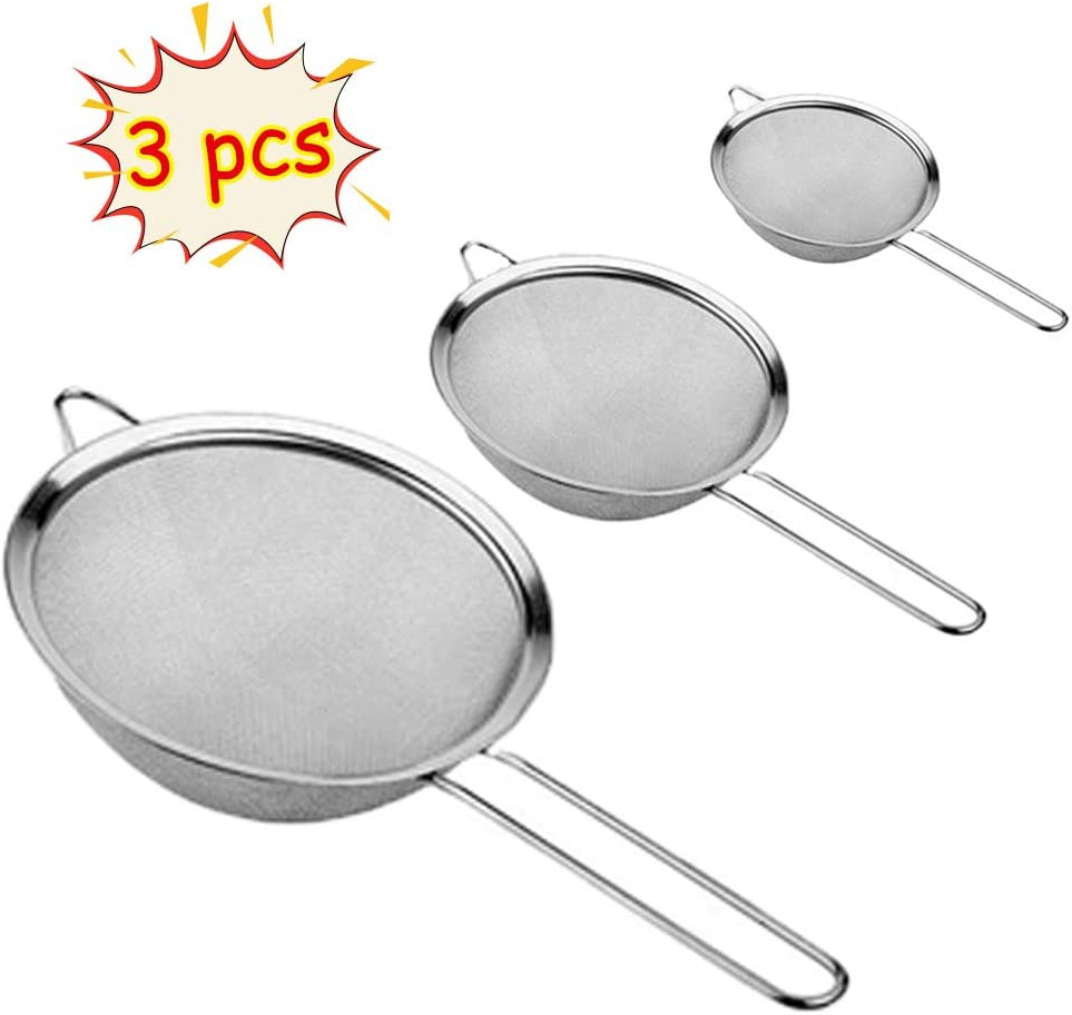 Set of 3 Fine Mesh Strainers,Stainless Steel Stainer with Long Handle,Juice Egg Filter Flour Sieve for Tea,Coffee,Fruit