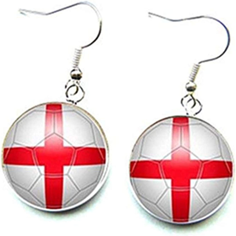 Pendientes de futbolín, seguidor inglés, Copa del mundo, Inglaterra, cabujones de cristal: Amazon.es: Joyería