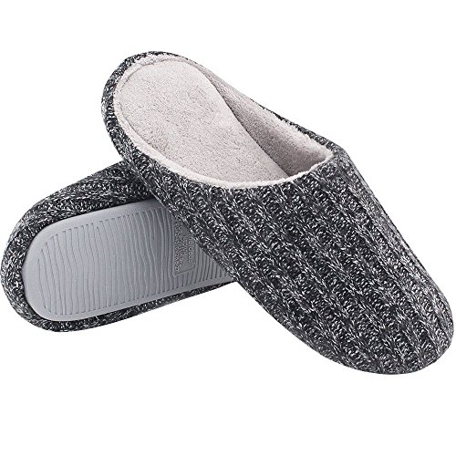 HomeIdeas Men's Cashmere Cotton Knitted Anti-slip House Slippers