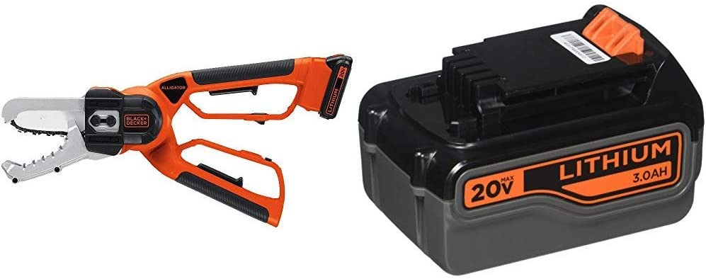 BLACK+DECKER 20V MAX Cordless Chainsaw with Extra Lithium Battery 3.0 Amp Hour (LLP120 & LB2X3020-OPE)