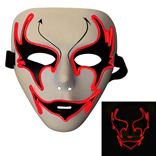 Bonamana Luminous Light Up Mask Costume EL LED Wire Halloween Mask Death Grimace Masks Masquerade (Red) -