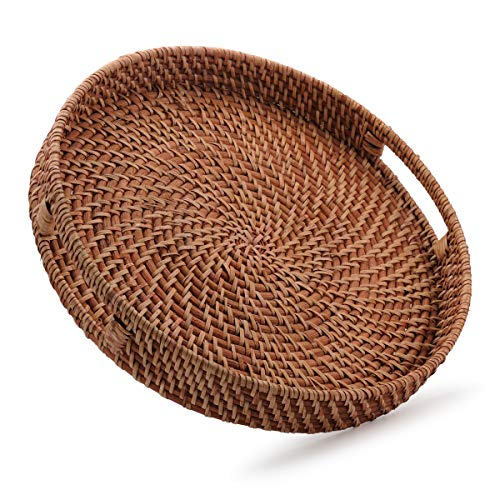 Woven Large Round Tray - Round Rattan Woven Serving Tray with Handles for Breakfast, Drinks, Snack for Coffee Table, Home Decorative (16.9 inch, Honey Brown)