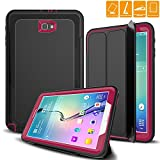 """Samsung Galaxy Tab A 10.1 Case, SEYMAC Three Layer Rugged Shock Drop Protection Heavy Duty Defender Case with Smart Auto Wake/Sleep Cover for Galaxy Tab A6 10.1"""" 2016 (SM-T580N/T585C) No S Pen (Rose)"""