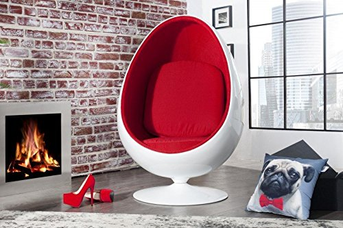 Casa Padrino Designer Egg Chair Sessel Weiß / Rot - Lounge Club Sessel