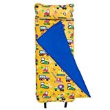 Wildkin Original Nap Mat Olive Kids by Children's Original Nap Mat with Built in Blanket and Pillowcase Pillow Insert Included Premium Cotton and Microfiber Blend Ages 3-7 years Under Construction
