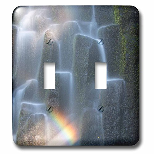 Rainbow Over Waterfall (3dRose Danita Delimont - Oregon - Oregon, Proxy Falls. Waterfall rainbow over basalt columns. - Light Switch Covers - double toggle switch (lsp_251343_2))