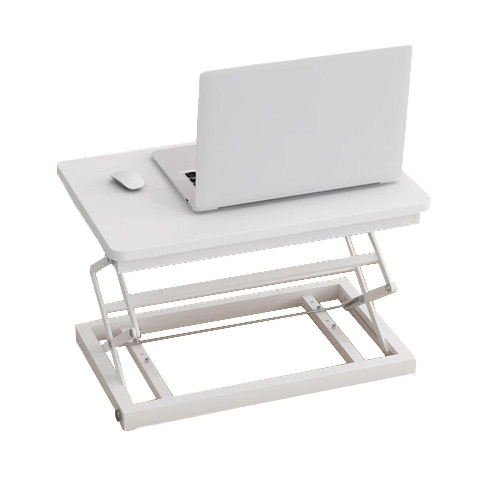 CJC テーブルチェアセット スタンドデスクコンバータ高さ調節可能な座席スタンドは、ラップトップモニターに適合60x40cm作業面はホームオフィスを調整 (色 : 白) B07FXDXZVK 白 白