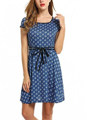 14909c1ad5a071 Blumen Gürtel Zeagoo Kleid Mit Sommerkleid Elegant Blau Jerseykleid Damen  Partykleid Vintage A-linie ...