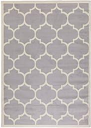 Berrnour Home Homesense Collection Grey Contemporary Moroccan Trellis Design (7\'10\