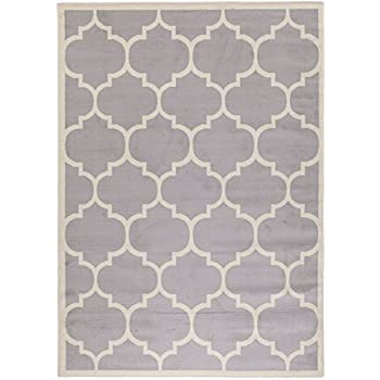 Berrnour Home Homesense Collection Grey Contemporary Moroccan Trellis  Design (5u0027X7u0027) Area Rug