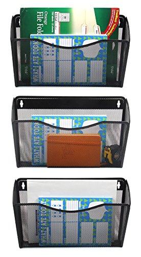 Wall Mounted File Holder Storage Organizer 3 Pockets Mesh