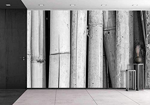 wall26 - Bamboo Wall, Black and White - Removable Wall Mural | Self-adhesive Large Wallpaper - 66x96 inches