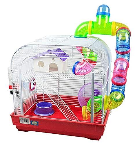 DZL Jaula para Hamster Medidas:29.5X29.5X38CM (Rojo): Amazon.es ...