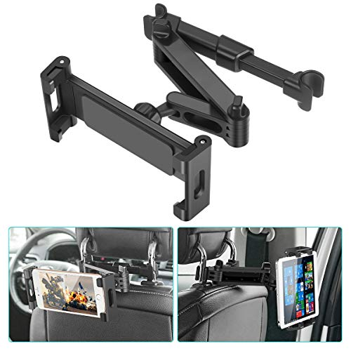 "Car Headrest Mount, SAWAKE Angle Adjustable Headrest Tablet Mount, Universal Tablet Holder for Car Backseat, for 5"" to 14"" iPad/Tablet/Smartphone/Nintendo Switch"