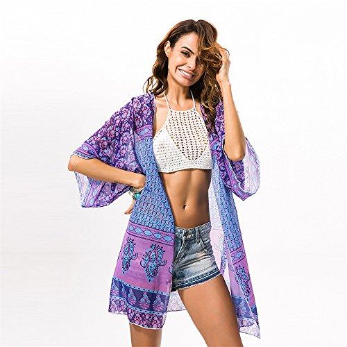 Women's Bohemia Summer Chiffon Kimono Cardigan Blouse Beach Cover up Purple by Viva Fancy (Image #2)