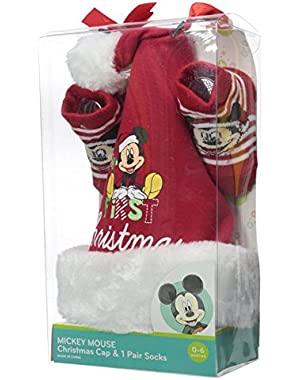 Disney Baby-Boys Newborn Mickey My First Christmas Set Red 0-6M