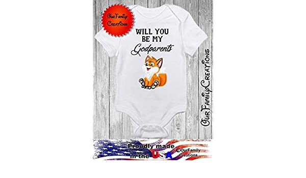 Will you be my Godparents baby feet 2019 Gerber onesie pick size