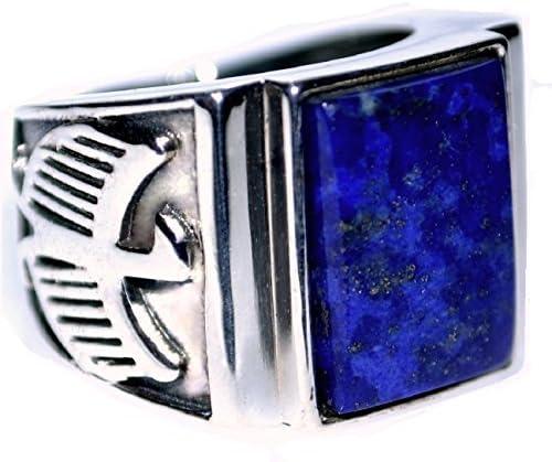 Hombre De ley 925 Plata Azul Lapis De caballero Anillo, Logo Águila Aspecto Antiguo Sello Anillos! Tallas P a Z+5