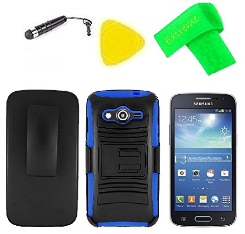 Blue Belt Faceplate Clip (Holster w Heavy Duty Hybrid w Kickstand Phone Cover Case + LCD Screen Protector Guard + Extreme Band + Stylus Pen + Pry Tool For Samsung Galaxy Core LTE 4G SM-G386F (Belt Clip Holster Black/Blue))