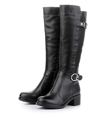 bfa5c85ac0ca Amazon.com | Fashion Women Zip Buckle Boots Knee High Slim Boots Solid  Colors Riding Women Elegant Comfortable Boot | Knee-High