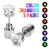 IC ICLOVER 5 Pairs Led Earrings, Changing Color Light Up Earring Diamond Crown Studs Christmas Flashing Blinking Dance Party Accessories Glowing up Decoration for Men Women Boys Girls Female