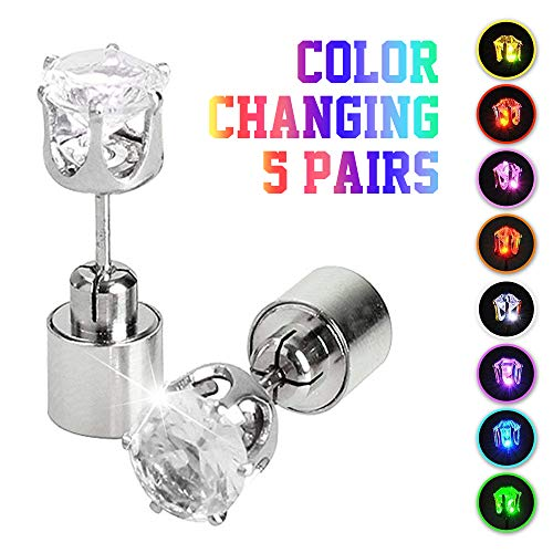 IC ICLOVER 5 Pairs Led Earrings, Changing Color Light Up Earring Diamond Crown Studs Christmas Flashing Blinking Dance Party Accessories Glowing up Decoration for Men Women Boys Girls -