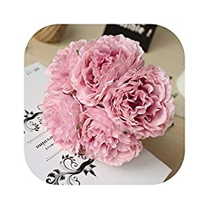 Gooding life 5 Heads/Bouquet Peony Artificial Flowers Home Decor Silk Fake Flower Peonies Artificial Flowers for Wedding DIY Decoration,5 15