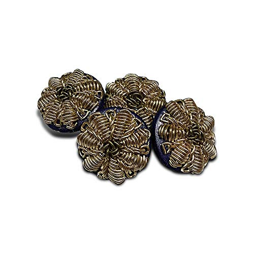 Jacknjewel hand embroidery button for women dress, ladies suits & kurta's using dabka, zarkan & zardosi work (Brown color, pack of 4 pieces)