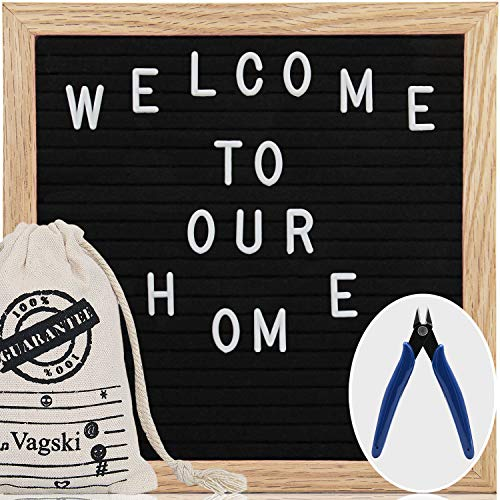 Letter Board - 8'' x 8'' Black Felt Letter Board with 460 Letters, Changeable Letter Board 8x8 Word Board,Business Message Board, Letter Sign Board with Canvas Bag + Cute Scissors VAG066 ()